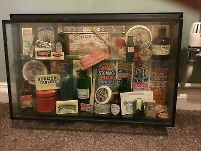 £80 • Buy Pub Glass Display Of Old Medicinal Bottles And Items From Rising Sun Slough