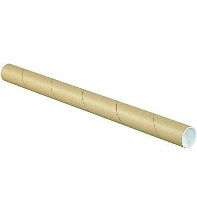 $80.26 • Buy BOX USA BP1524K Mailing Tubes With Caps 1-1/2  X 24  Kraft Pack Of 50