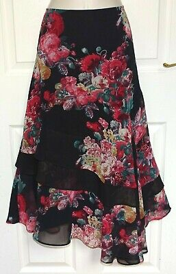 £3.19 • Buy M&S PER UNA Long Black Red Green Fit & Flare Tiered Gypsy Boho Skirt Size 14