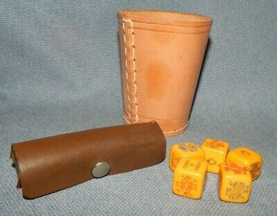 £12.99 • Buy Vintage Brown Stitched Leather Cup Shaker With Set Bakelite Poker Dice  Gambling
