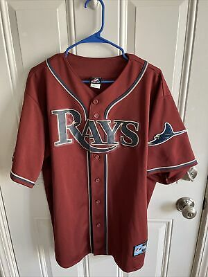 $17 • Buy One Of A Kind Maroon Tampa Bay Devil Rays Majestic Baseball Jersey Size XL