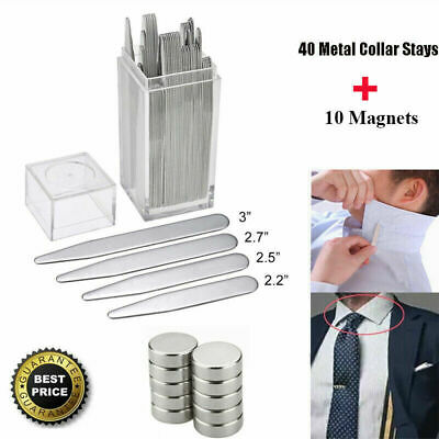 $12.95 • Buy US 40 Metal Collar Stays Stiffeners & 10 Magnets For Men Shirts 4 Sizes With Box