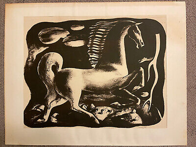 $900 • Buy Lithograph Millard Sheets Hand Signed 1939 Horse Frightened By Lightning 30/40