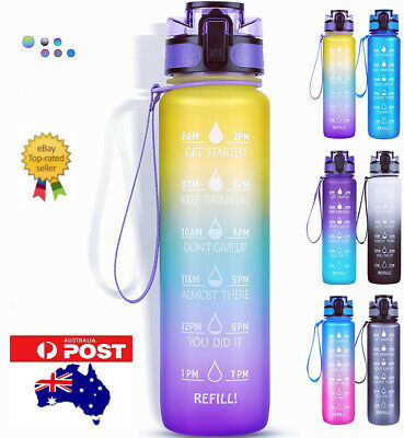 AU17.99 • Buy 1L Water Bottle Motivational Drink Flask With Time Markings BPA Free Sport Gym