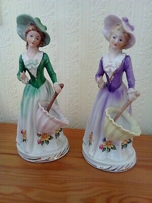 $ CDN6.92 • Buy 2 X Vintage Lady Figurines Green And Purple Floral With Umbrellas 20cm Porcelain