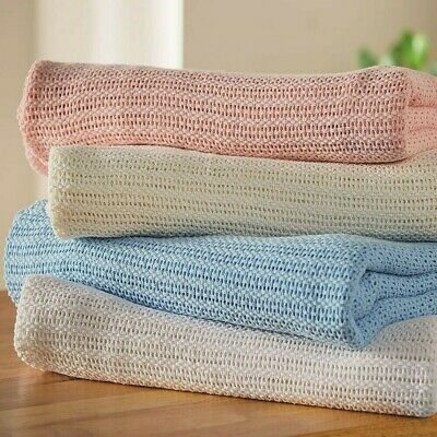 £6.50 • Buy Cellular Blankets 100% Cotton For A Pack Of 2 For £6.50 Any Colour.