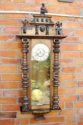 AU140.14 • Buy ANTIQUE VIENNA WALL CLOCK In WALNUT CASE In Very Good WORKING CONDT With Its KEY