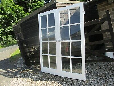 £75 • Buy Solid Wood Double Interior Glazed Inter-locking Doors Partition Dividing Glass