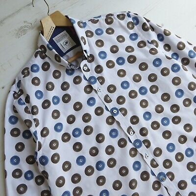 £22.50 • Buy A FISH NAMED FRED Shirt Cotton Chinese Coin Print Blue White Size 3XL XXXL