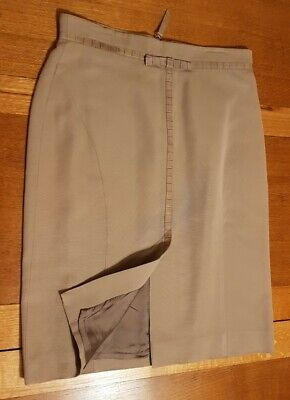 £16 • Buy Jaeger Beige Pencil Skirt With Leather Trim Size 14