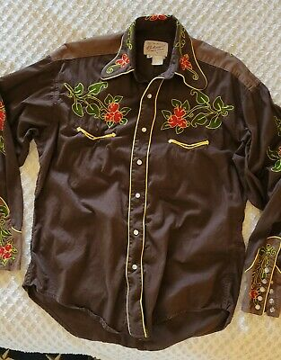 $48 • Buy TRU-WEST ROCKMOUNT RANCH WEAR Brown W/ Floral Embroidered SHIRT Size SMALL