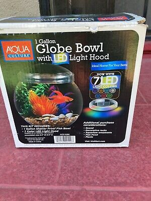 £2.18 • Buy 1 Gallon Globe Fish Bowl With LED Light Hood 7 Different Color LED Lights .