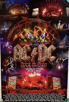 $79.95 • Buy AC/DC Tour Poster Rock Or Bust 2015 2016 Concerts Angus Young New