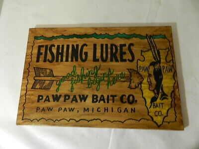 $ CDN157.36 • Buy Vintage Advertising Sign- Paw Paw Bait Co. Wooden Sign- Vintage Fishing Sign