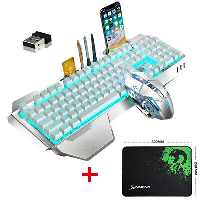 AU68.99 • Buy AU Wireless Gaming Keyboard And Mouse Set Blue LED Backlit Wrist Rest For PC PS4