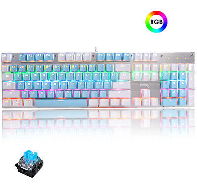 AU38.99 • Buy Wired Mechanical Gaming Keyboard Blue Switch RGB Backlit Layout For Typists PC