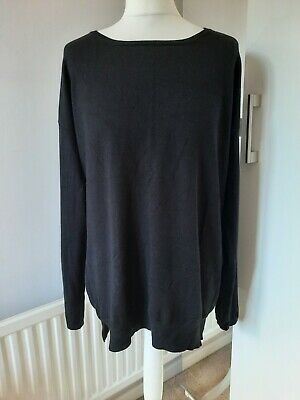 £19.99 • Buy LONG TALL SALLY Size M 14-16 Black Fine Knit Slouchy Long Sleeved Jumper