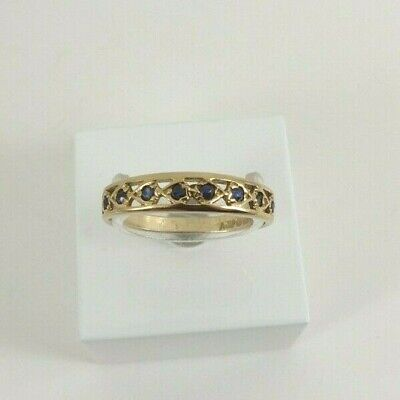 £78 • Buy 9ct Gold Sapphire Eternity Ring Band Hallmarked Size P With Gift Box