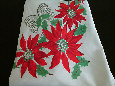$ CDN18.88 • Buy Vintage Winter Christmas Tablecloth Red Poinsettia Berries & Bows 53X59