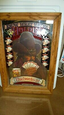 """$ CDN81.81 • Buy Budweiser """"KNOW WHAT YOU'RE HOLDIN'  Mirror Poker King Beer Man Cave 20 X 14"""