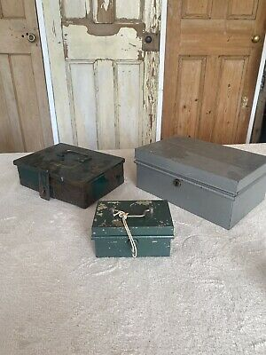 """£12 • Buy Vintage Metal Petty Cash Tin Green Money Box """"Victa"""" Series With Key And 2 Other"""