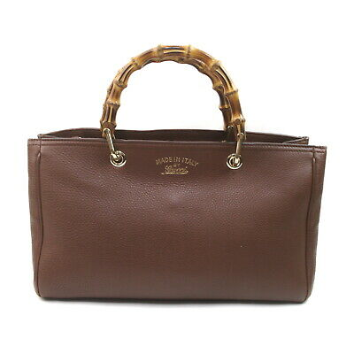 AU234.39 • Buy Gucci Hand Bag Bamboo Tote Bag Browns Leather 1722971