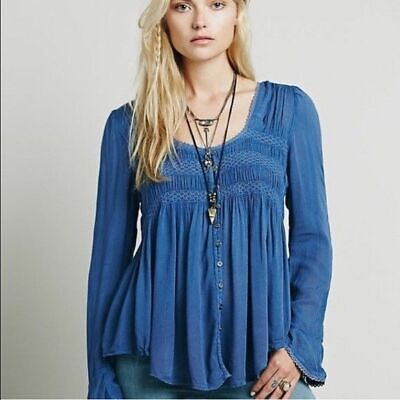 £21.04 • Buy Free People Bird Smocked Long Sleeve Tunic Top Blue Button Front Summer New XS