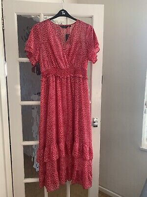 £16 • Buy Dorothy Perkins BNWT Red & Pink Animal Print Maxi Dress With Slip Size 14