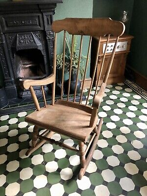 £35 • Buy Beautiful Vintage Stripped Pine Wooden Rocking Chair Shabby Chic Nursery Chair