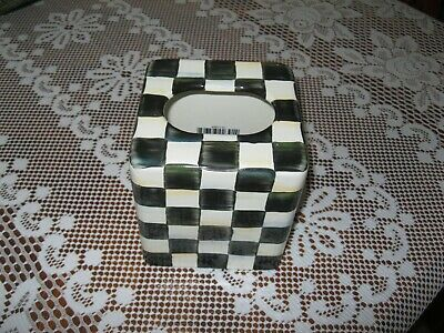 $45 • Buy Mackenzie Childs Courtly CHECK Enamel BOUTIQUE Tissue Box Cover No Box