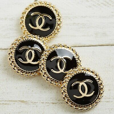 £32.72 • Buy Chanel Buttons STAMPED 4pc CC Gold & Black 21.5mm Vintage Style AUTH!!!