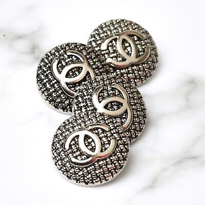 £28.36 • Buy Chanel Buttons 4pc CC Silver 20mm Vintage Style 4 Buttons Unstamped AUTH!!!