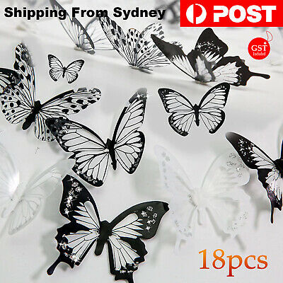 AU6.99 • Buy 18pcs 3D DIY Wall Decal Stickers Removable Butterfly Home Room Art Decorations A
