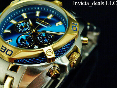 $94.99 • Buy Invicta Men's 52mm BOLT SCUBA Chronograph BLUE DIAL Gold Two Tone Plated Watch