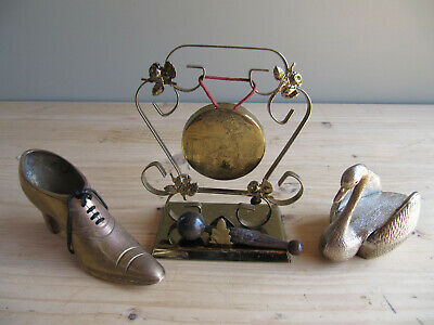 £17.80 • Buy Small Job Lot Of Vintage Brass - Gong, Lady's Shoe And Swan Box