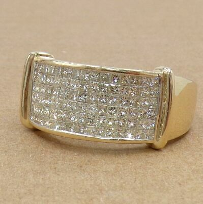 $1149.99 • Buy Men's 1.25ctw Pave Diamond Wide Band 14K Yellow Gold Ring Size 10.5 LJG2