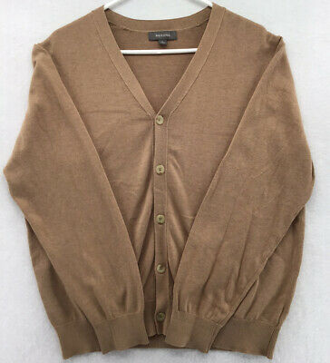 $17.99 • Buy Merona Sweater Mens Large Tan Button Down Long Sleeve V Neck Knitted