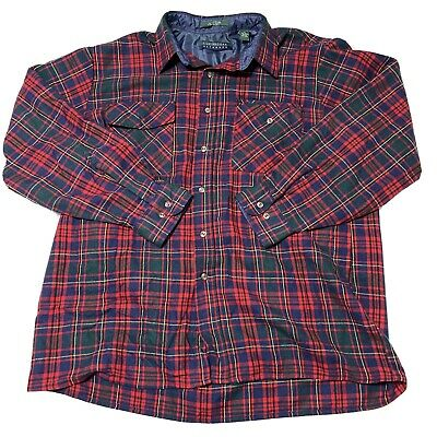 $16.99 • Buy VTG Claybrooke Mens XL Button Up Red Gr Plaid Long Sleeve Flannel Shirt 📦G