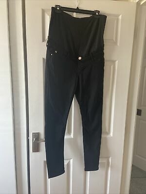 £10 • Buy River Island Size 14 Maternity Jeans Black Over The Bump