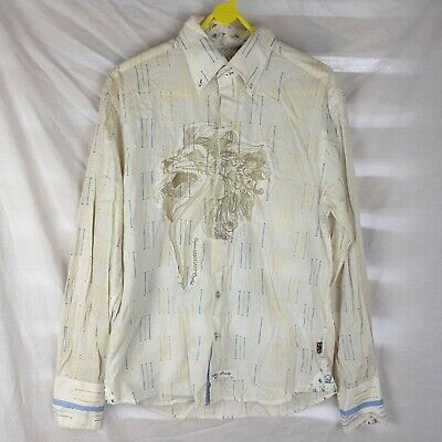 £6 • Buy Vintage Men's Cream Lion Embroidery English Laundry Hand Sewn Shirt Size Small