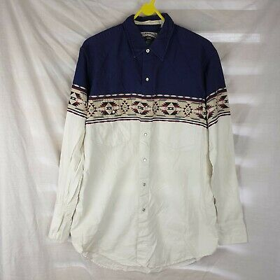 £6 • Buy Vintage Men's White Blue Long Sleeve Cumberland Outfitters Shirt Size Large Tall