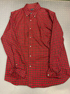$16.90 • Buy Polo Ralph Lauren Mens Large Custom Fit Red Green Plaid Long Sleeve Button Shirt