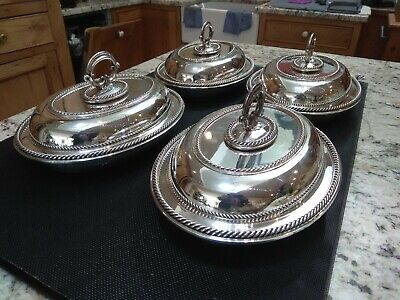 £270 • Buy Set Of Four Elkington Silver Plated Entree Dishes Dated 1857