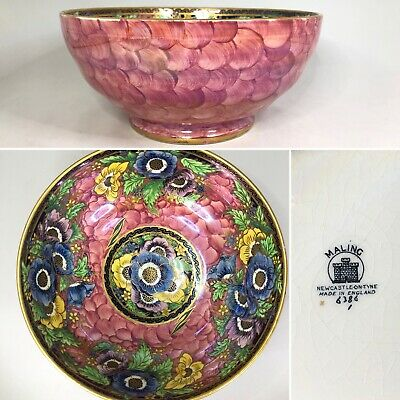 £34.99 • Buy Maling — #6386 Anemone — Rose Pink & Floral Lustre Large 21.5cm Footed Bowl —A/F