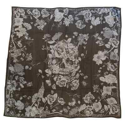 AU441.61 • Buy Huge New Alexander Mcqueen Silk Skull, Roses And Insect Semi-Sheer Black Scarf