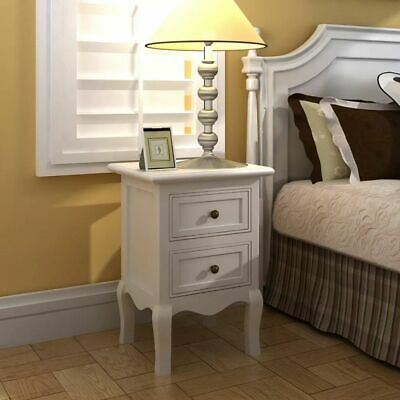 £134.18 • Buy Set Of 2 White Two-drawer Nightstands Cabinets Bed Stands French Style Y7S0