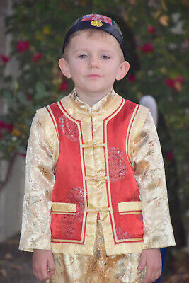 £12.25 • Buy Traditional Chinese Costume Boys Red Gold Sz 4T 5T Hat Outfit Padded