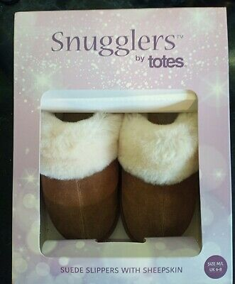 £8 • Buy Snugglers By Totes Suede Slippers With Sheepskin Ladies UK 6-8 NEW Gift 🎁🎁
