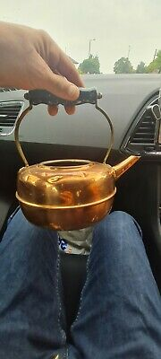 £3 • Buy Vintage Antique Copper And Brass Kettle With Wooden Handle