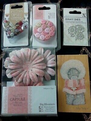 £4.99 • Buy Papermania Bundle Craft Job Lot Buttons Die Stamp Flowers